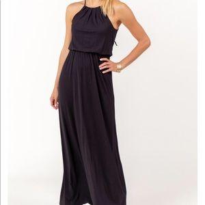 Francesca's Collections black halter maxi dress